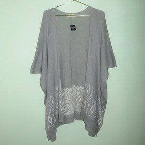 NEW Hollister Gray Fair Isle Open Poncho Sweater